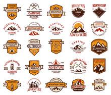 Big Set Of Mountain Hiking Emblems. Design Element For Logo, Label, Sign, Banner, Poster.