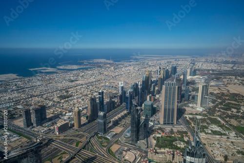 Tuinposter Bird view of Dubai skyline at daytime