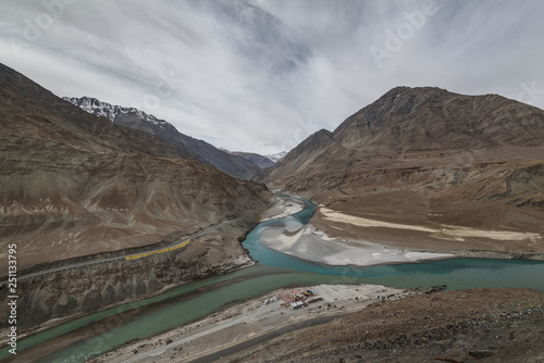 Foto op Aluminium Arctica Sangam viewpoint with cloudy day in Let ladakh
