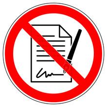 Srr547 SignRoundRed - German - Symbol Verbotszeichen - Unterzeichnung Eines Vertrages Verboten: Dokument - English - Prohibition Sign - Signing A Contract Prohibited: Document - Red Xxl G7252