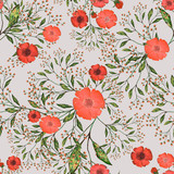 Seamless pattern with leaves and flowers. Floral background design. Watercolor illustration. The original pattern on the fabric. Red flowers. - 251138127
