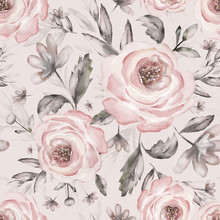 Seamless Background With Flowers And Leaves. Floral Pattern For Wallpaper, Paper And Fabric. Watercolor Hand Drawing. Vintage Pink Roses On White Background.