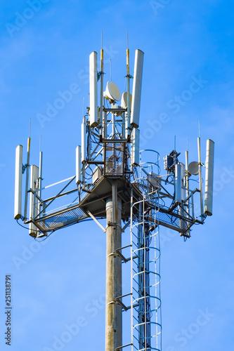 Fotografie, Tablou  Antenna station cellular, close-up.