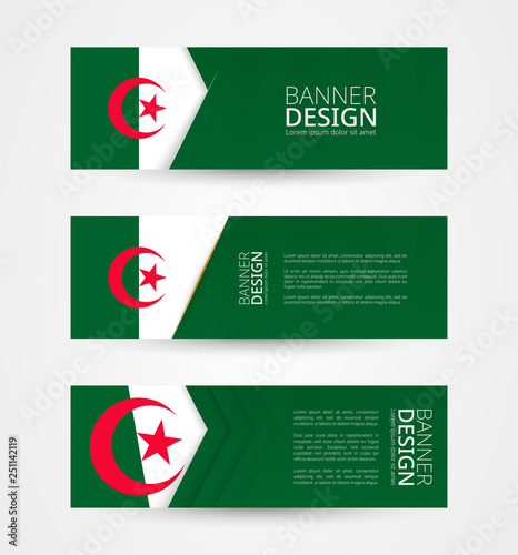 Set of three horizontal banners with flag of Algeria  Web