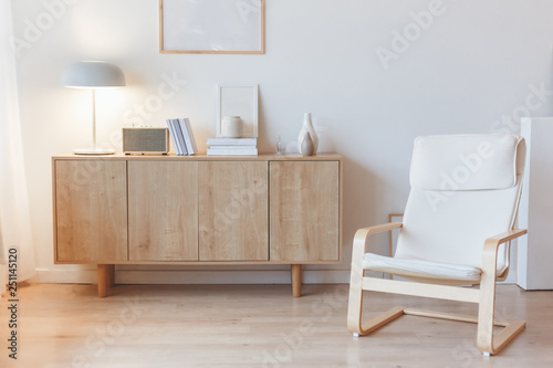 Obraz na plátně  Living interior with cabinet and armchair