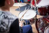 Drum class in a music school