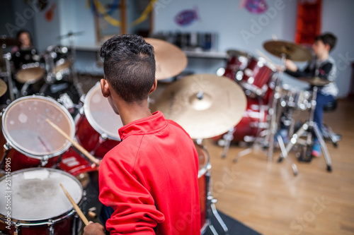 Drum class in a music school Poster Mural XXL