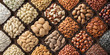 canvas print picture - assorted nuts background, large mix seeds. raw food products: pecan, hazelnuts, walnuts, pistachios, almonds, macadamia, cashew, peanut and other