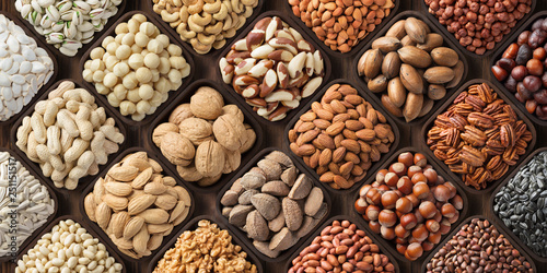 fototapeta na drzwi i meble assorted nuts background, large mix seeds. raw food products: pecan, hazelnuts, walnuts, pistachios, almonds, macadamia, cashew, peanut and other