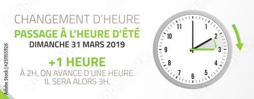 Obraz na płótnie changement d'heure - passage à l'heure d'été - 31 mars 2019