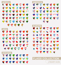 Heart Icon Set With The Flags Of The World, Flags Sorted Alphabetical.