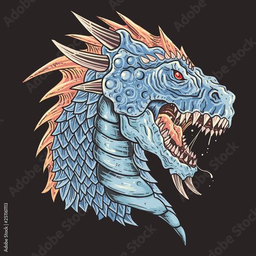 Fototapeta  Dragon Head detail eps Vector