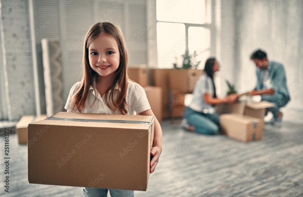 Fototapety, obrazy: Family on moving day