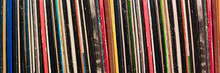 Collection Of Vinyl Records Covers Panoramic Background, Vintage Music Concept