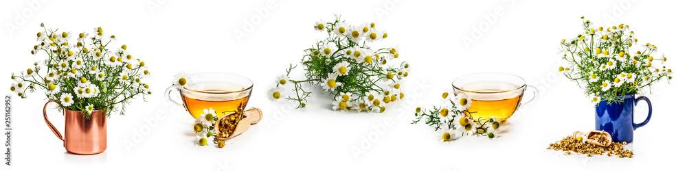 Fototapety, obrazy: Chamomile flowers and tea