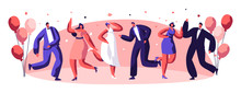 Dancing Party Celebration People Character Together. Happy Relationship Holiday Atmosphere Joyful Dancer Set. Good Mood Entertainment Concept Design Flat Cartoon Vector Illustration
