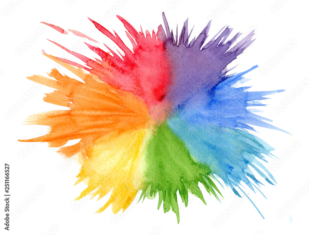 Fototapeta Bright rainbow colors watercolor rounded stain, wash technique. Colorful vibrant colors blob with splashes for lgbt pride design, summer decoration, isolated on white background