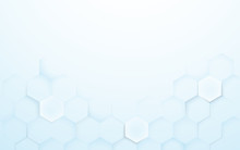Soft Blue And White 3d Hexagons Texture Background