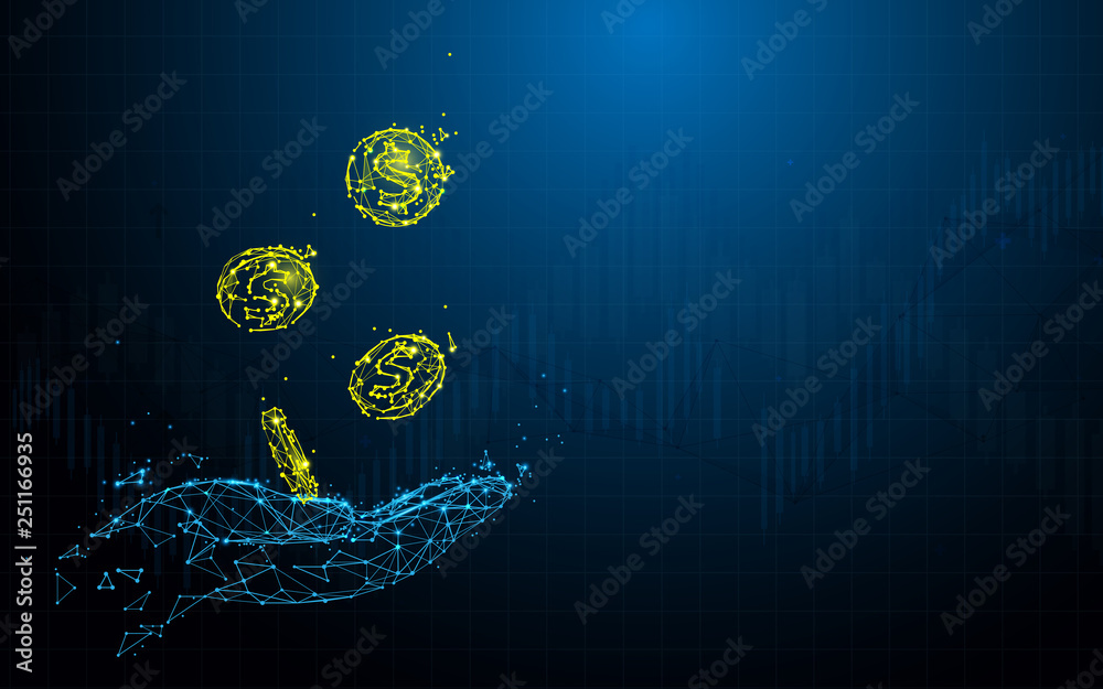 Fototapeta Hand holding coins from lines, triangles and particle style design. Illustration vector