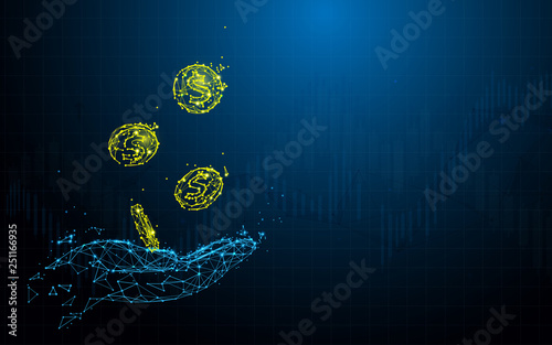 Fototapeta Hand holding coins from lines, triangles and particle style design. Illustration vector obraz