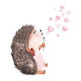 Fototapeta Fototapety na ścianę do pokoju dziecięcego - Hand drawn watercolor hedgehog blowing heart shaped bubbles