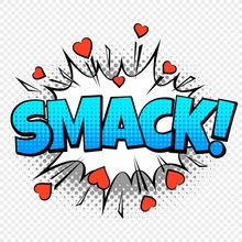 Comic Smack. Cartoon Pop Vintage Speech Bubble Word With Halftone Dotted Shadow And Hearts