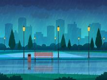 Rainy Day Park. Raining Public...