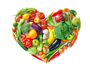 Heart shape by various vegetables and fruits. Healthy food concept