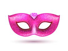 Carnival Party Masquerade Pink Mask Background. Mardi Gras Mask Venice Celebration Template Isolated Illustration