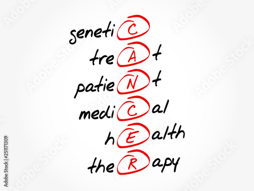 Valokuva  CANCER - Genetic treat patient medical health therapy acronym, health concept ba