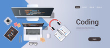 Web Site Design Development Program Coding Concept Top Angle View Desktop Computer Monitor Tablet Laptop Screen Organizer Office Stuff Horizontal Copy Space