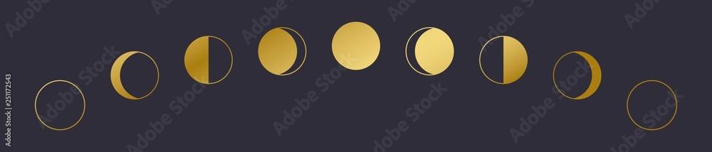 Ikona fazy złotego księżyca. EPS 10. <span>plik: #251172543 | autor: Daria</span>