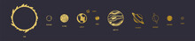 Golden Planet Icon Set. Eps 10.
