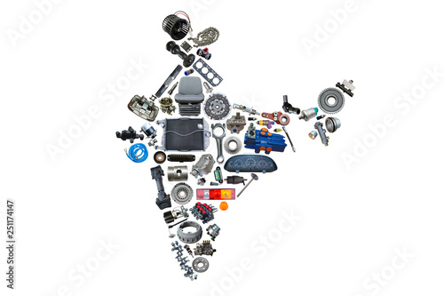India map of the auto parts for shop auto aftermarket. Wallpaper Mural