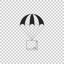 Box Flying On Parachute Icon Isolated On Transparent Background. Parcel With Parachute For Shipping. Delivery Service, Air Shipping Concept, Bonus Concept. Flat Design. Vector Illustration