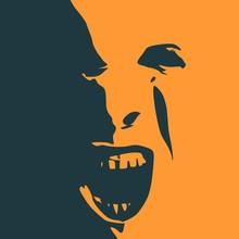 Demonic Ugly Face. Devil Screa...