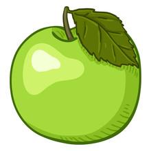 Vector Cartoon Green Apple With Leaf