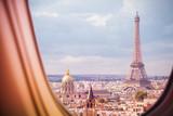 Fototapeta Fototapety z wieżą Eiffla - Paris and Eiffel tower view from plane window