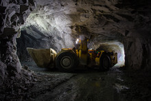 Underground Gold Ore Mine Shaft Tunnel Gallery Passage With Load, Haul, Dump Machine LHD