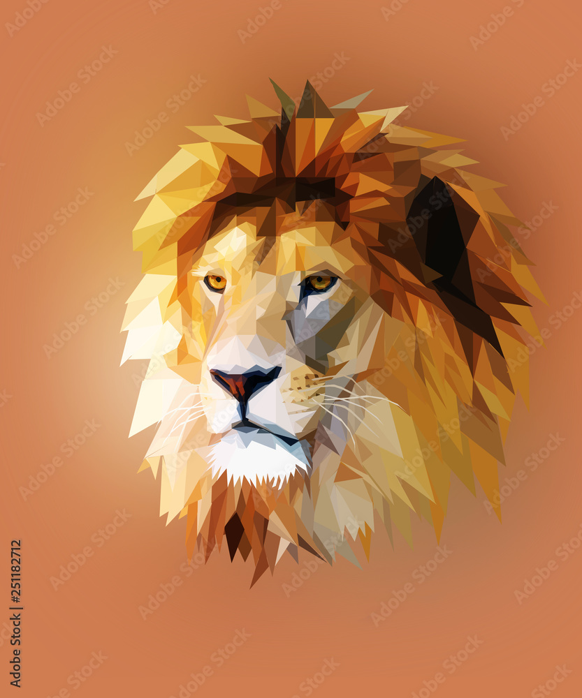 Fototapeta lion head graphic portrait with polygonal effect on abstract background.