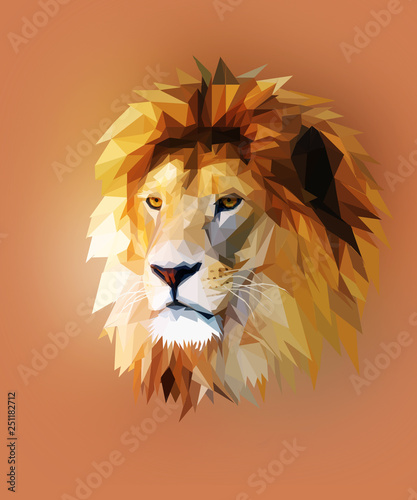 lion head graphic portrait with polygonal effect on abstract background Wallpaper Mural