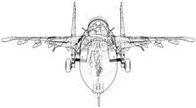 Jet Fighter Aircraft. Vector W...