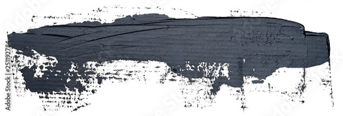 Fotografie, Obraz  Template for your banner text - long textured hand drawn black oil paint brush stroke, isolated on white background