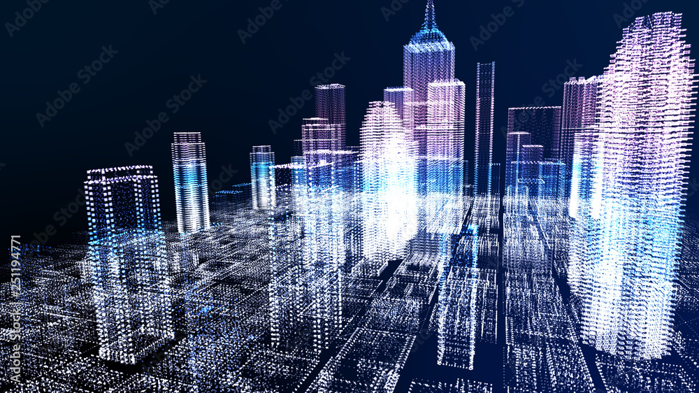 Fototapety, obrazy: Energy power of future big city concept, neon cyber light skyscraper building of business area architecture simulation technology digital fly over view, blue theme