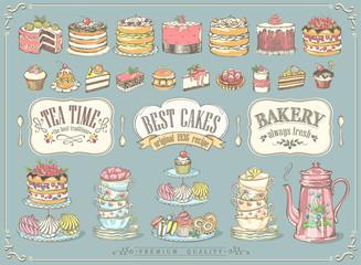 Velika vintage kolekcija ručno crtanog čaja i kb pekara. Slobodno crtanje, skica