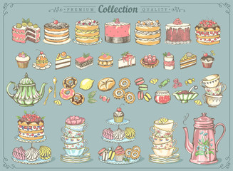 Fototapeta Do herbaciarni Big vintage collection of hand-drawn tea and kb bakery. Freehand drawing, sketch