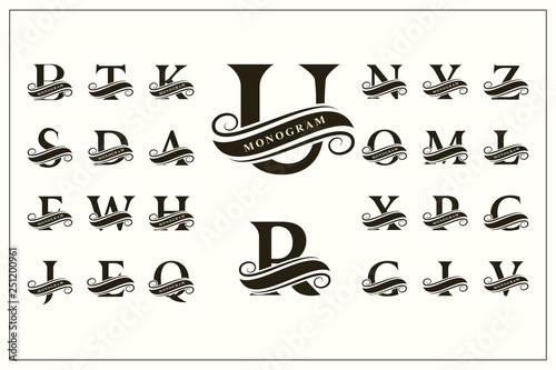 Set of Stylish Capital Letters Canvas Print