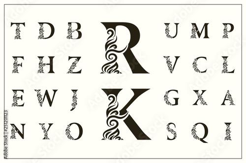 Leinwand Poster Set of Stylish Capital Letters