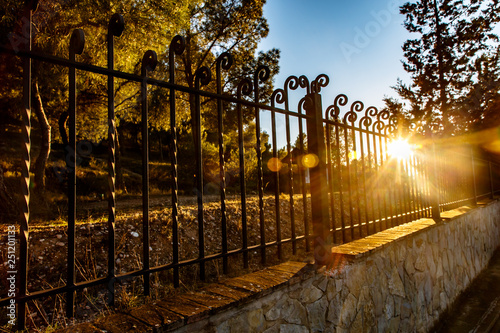 Photo sur Toile Marron chocolat In the evening the sun shines on the old iron fence in the Park.