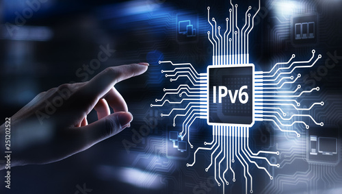 Fotografía  Ipv6 network protocol standard internet communication concept on virtual screen